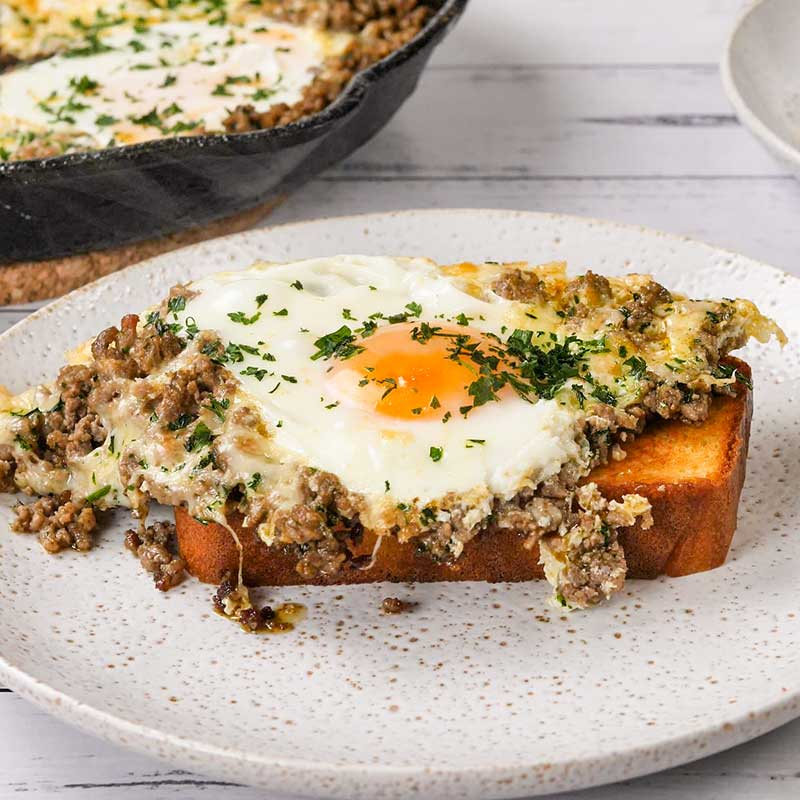 Keto Carnivore Baked Eggs on a slice of low carb toast