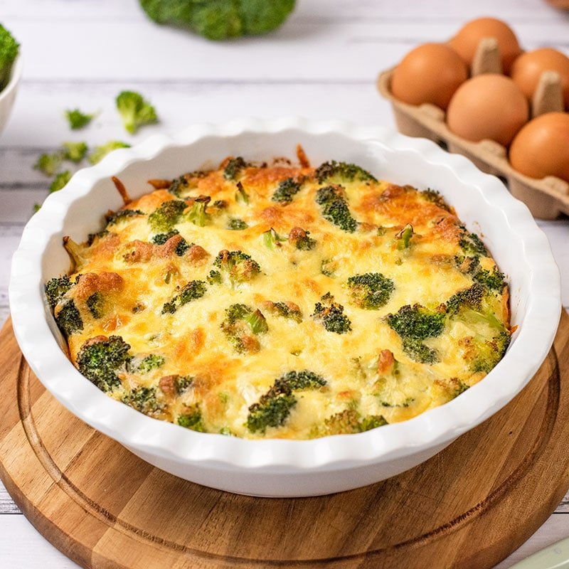 Keto Crustless Broccoli Quiche in a pie dish