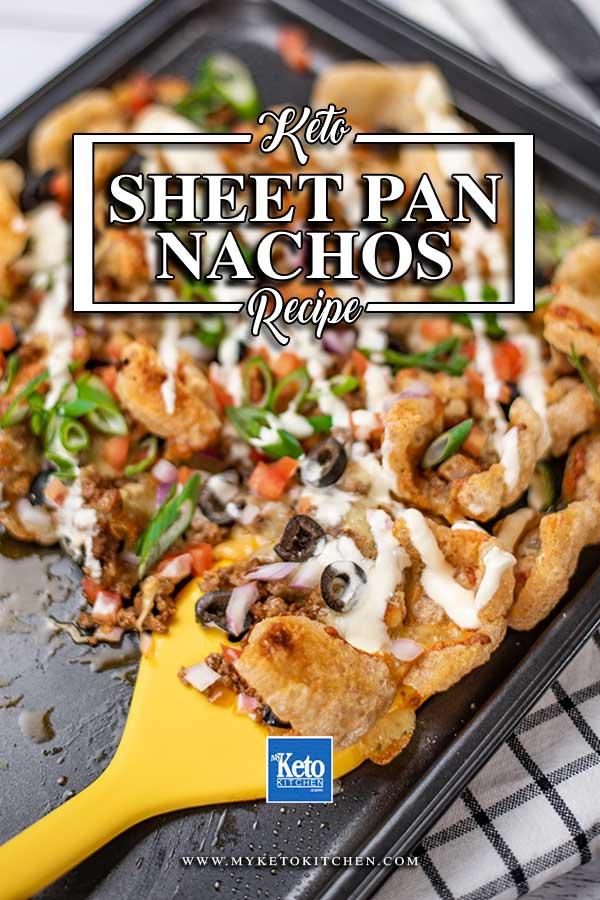 Keto Beef Nachos on a sheet pan