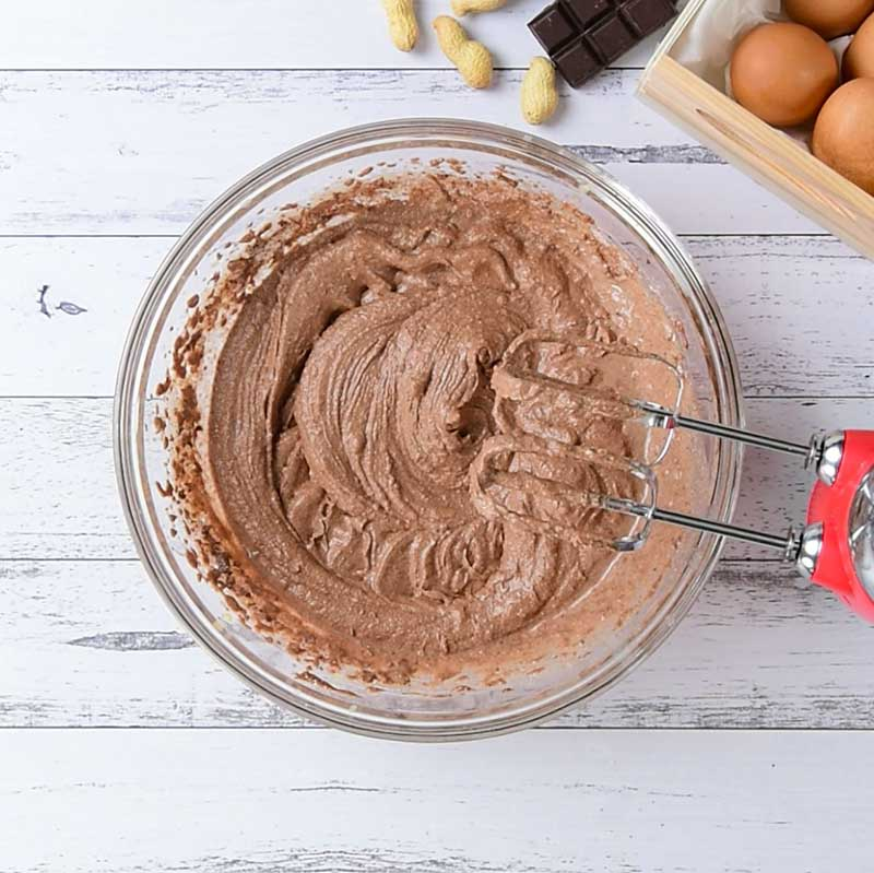 Keto Chocolate Peanut Butter Cupcakes Ingredients in a mixing bowl