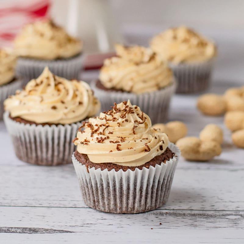 Keto Chocolate Peanut Butter Cupcakes
