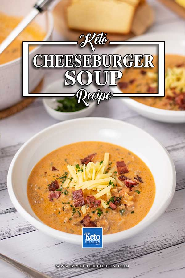 Low Carb Cheeseburger Soup in a bowl