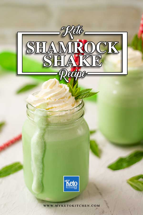 Low Carb Shamrock Shake topped with whipped cream