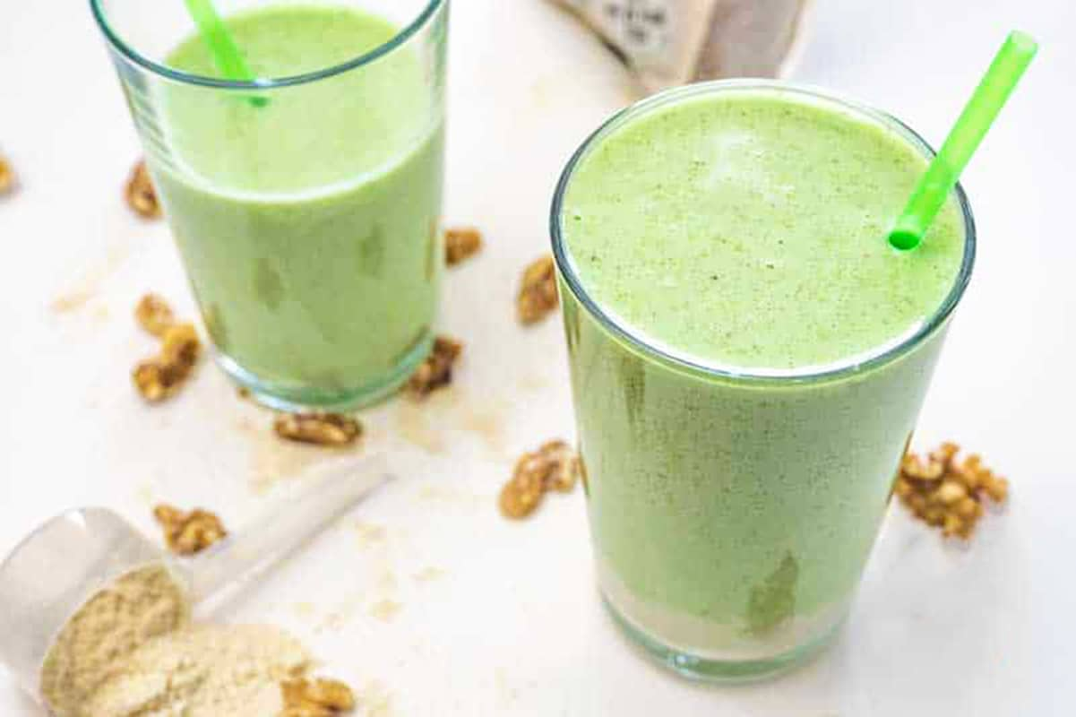 Keto Avocado and Peanut Butter Smoothie in a Glass
