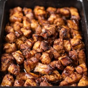 Keto BBQ Pork Belly Bites in a roasting tray