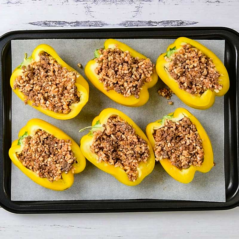 Keto Mexican Peppers Ingredients on a sheet pan