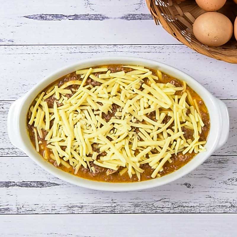 Keto Taco Casserole Ingredients in a casserole dish