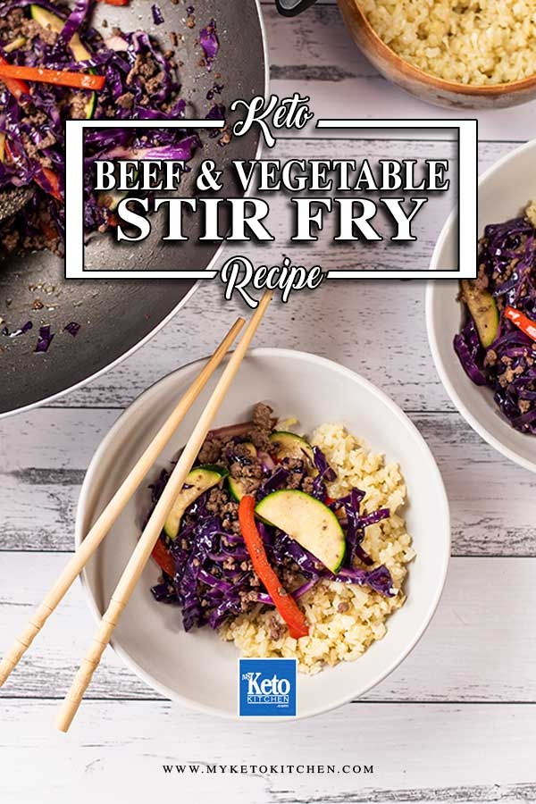 Low Carb Beef and Vegetable Stir Fry in a bowl with cauliflower rice
