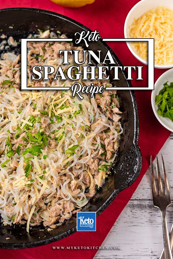 Low Carb Tuna Spaghetti in a skillet