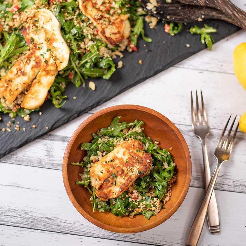 How to make Keto Halloumi Couscous Salad
