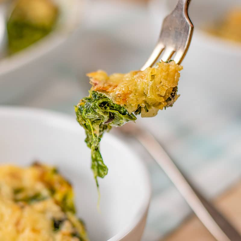 A forkful of Keto Spinach Gratin