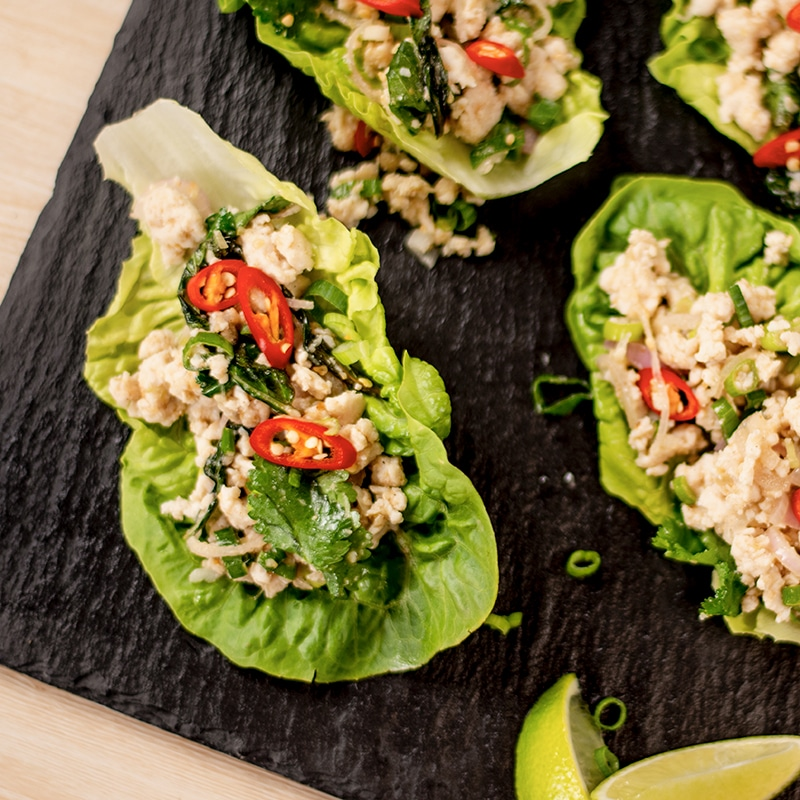 Keto Thai Chicken Larb in lettuce cups
