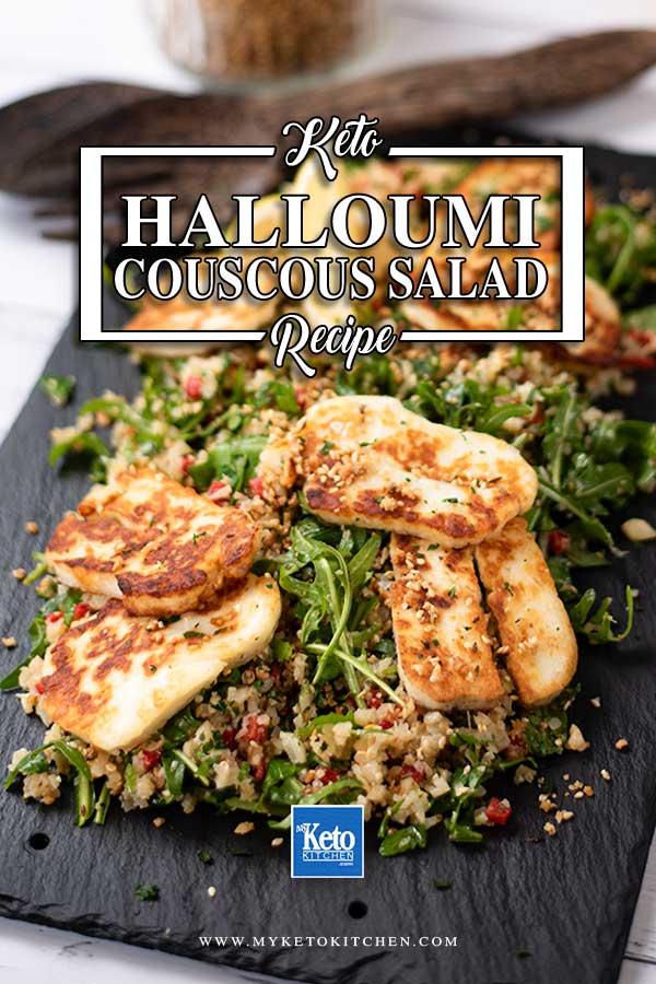 Keto Halloumi Cauliflower Couscous Salad