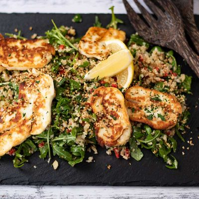 Keto Halloumi Cauliflower Couscous Salad – Vegetarian Warm Salad Recipe