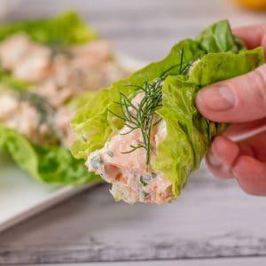 Keto Salmon Salad Wraps