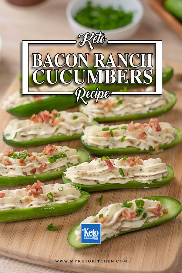 Low Carb Bacon Ranch Stuffed Cucumbers on a platter