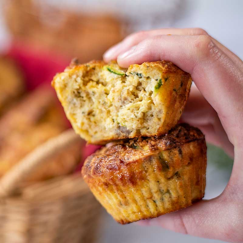 Keto Roast Lamb Muffins on top of each other