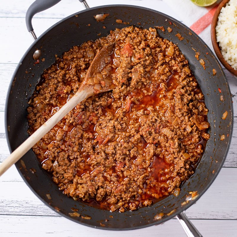 Keto Chili Con Carne Ingredients cooked in a large saucepan
