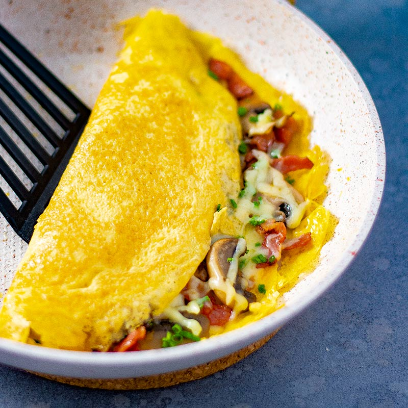 Keto omelet with mushroom and bacon