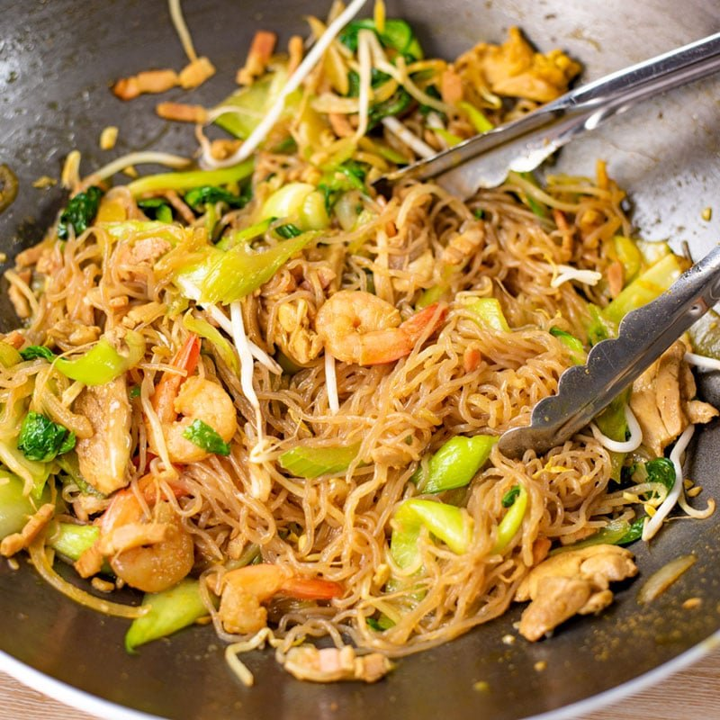 Keto Singapore Noodles tossed in a wok