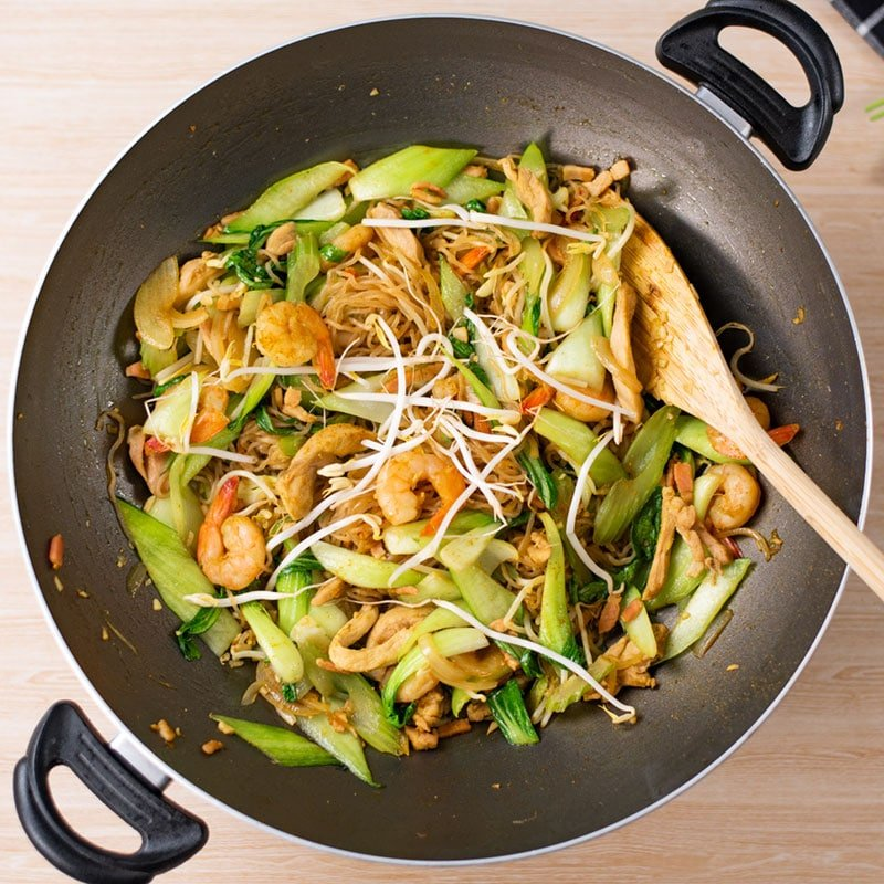 Keto Singapore Noodles Ingredients in a wok