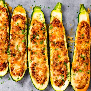 Keto Zucchini Boats Recipe with Ground Beef