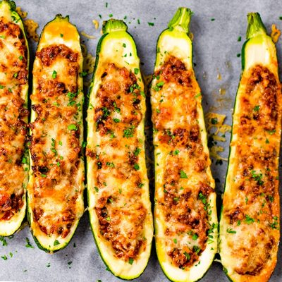 Keto Zucchini Boats Recipe Stuffed with Ground Beef, Bolognese & Cheese – Delicious!