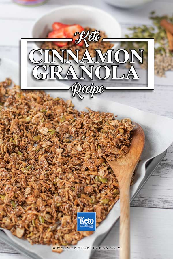Keto Cinnamon Crunch Cereal on a baking pan
