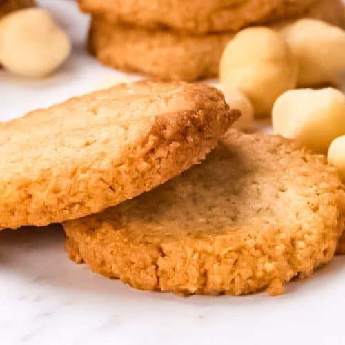 Keto Macadamia Nut Cookies on a plate