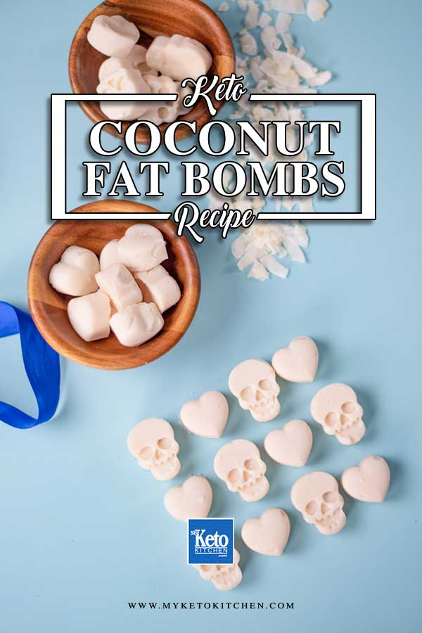 Low Carb Coconut Fat Bombs on a blue background