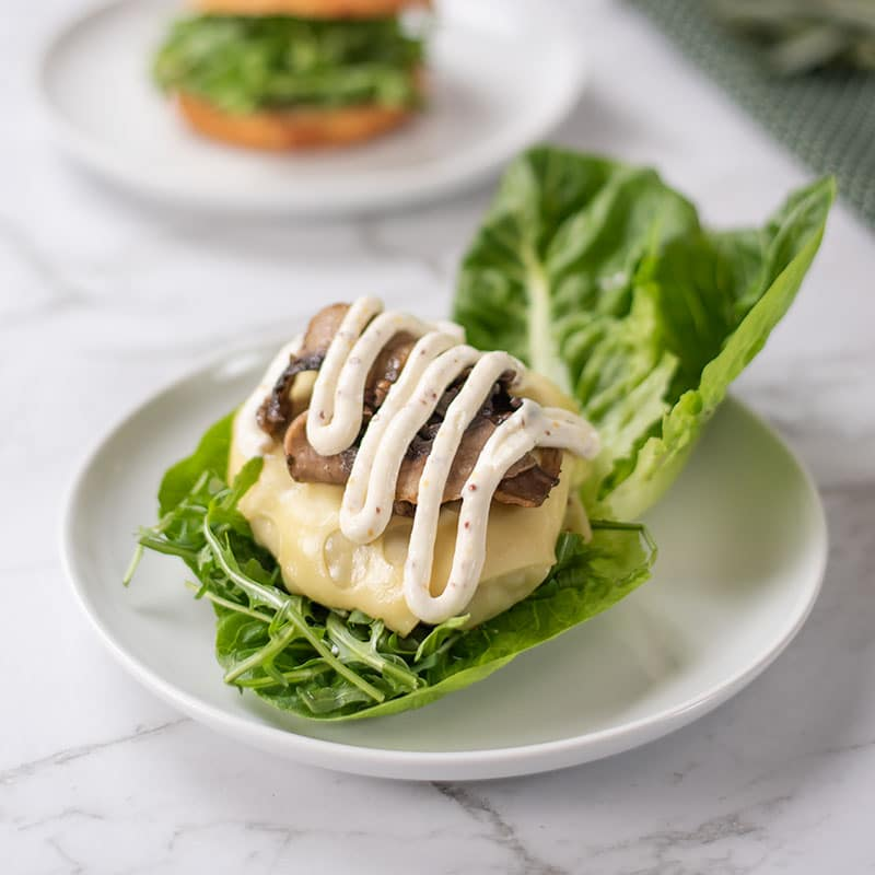 Lettuce wrapped Keto Turkey Burgers on a plate