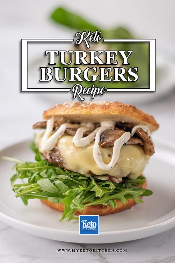 Keto Swiss Mushroom Turkey Burger on a plate