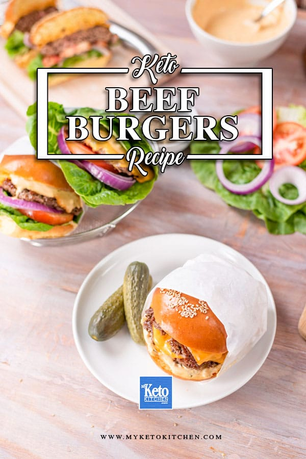 Keto Beef Burgers sitting on a wooden table