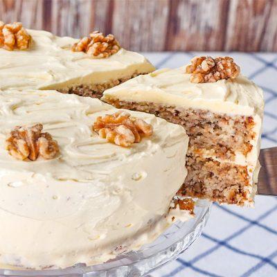 Keto Walnut Cake Recipe with Sugar-Free Frosting