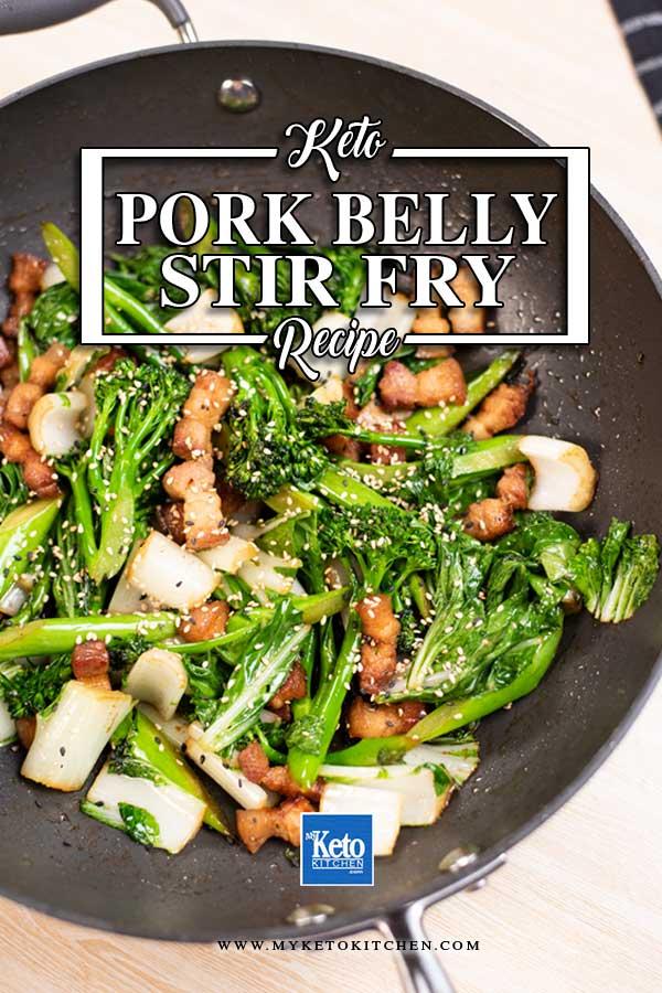 Pork Belly Stir Fry in a black wok,