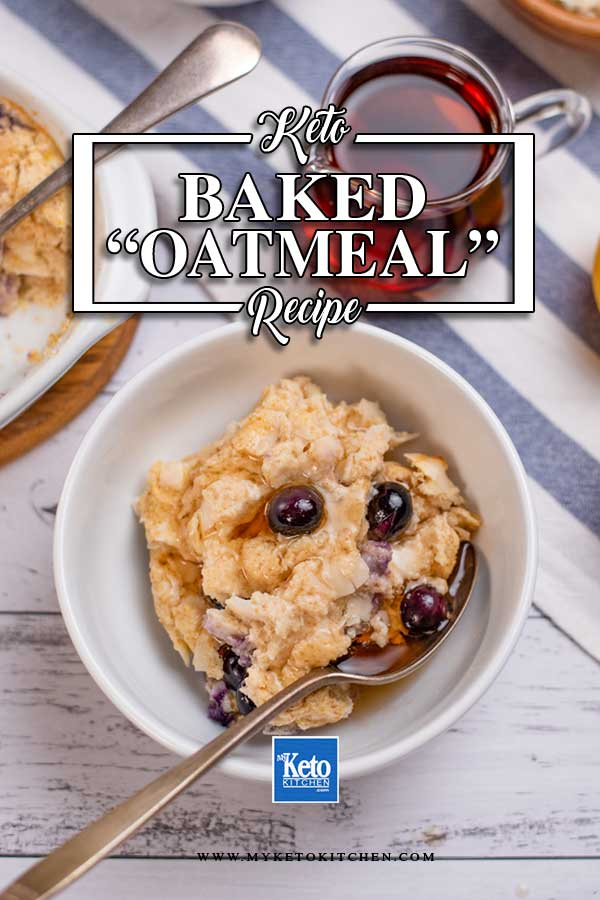 Keto Blueberry Baked Oatmeal in a bowl smothered in sugar-free maple syrup.