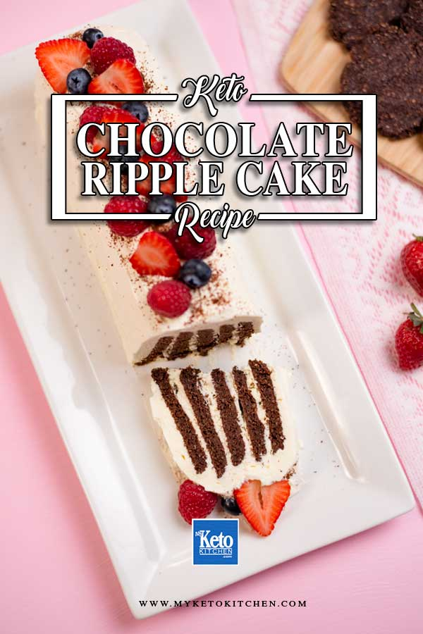 Keto Chocolate Ripple Cake with a slice cut off.