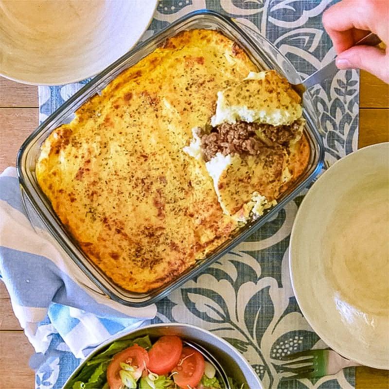 Keto cottage pie with a fluffy cauliflower mash top.