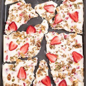 Keto Strawberry Yogurt Bark on a tray.