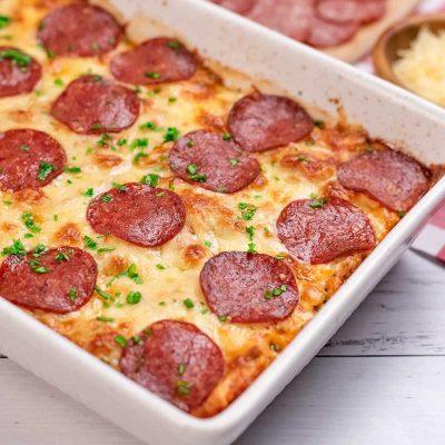Keto Pizza Casserole Recipe – Chicken Cheese & Pepperoni Bake