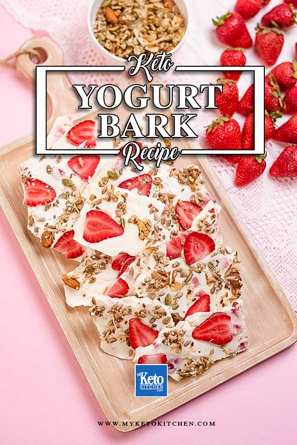 Keto Strawberry Yogurt Bark on a platter.
