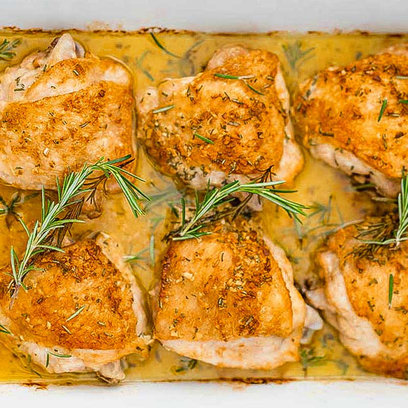 Crispy garlic chicken thighs.